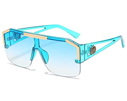 PADQ Gafas de Sol de la Manera Hombres de la Vendimia de Las Mujeresdel Marcode la Lente Gafas de Sol UV400 Azul