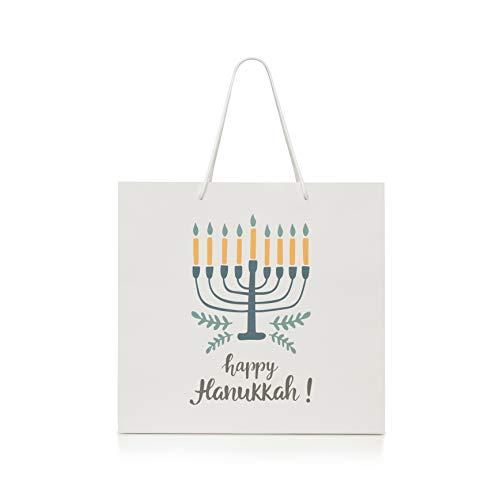 Hanukkah Gift Bag - All White Gift Bag Chanukah Supplies Kraft Paper Goodie Bag, Large Bag only