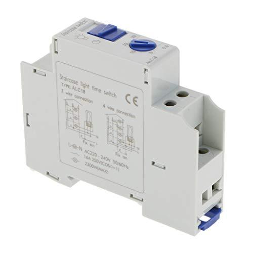 MagiDeal Riel DIN Escalera Iluminación Temporizador Interruptor Temporizador Relé Corredor AC 220-240V