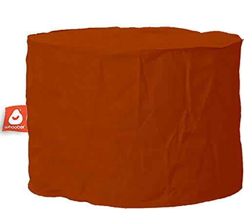 WHOOBER Outdoor Sitzhocker Rhodos Cognac - Ø58 cm x 41 cm - für Drinnen & Draußen - Runder Pouf/Bean Bag Hocker/Sitzkissen - für Erwachsene und Kinder - Waschbar - Langlebige Qualität