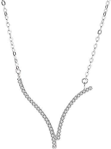 Fijne Jewelry dameshalsketting witgoud verguld kleurloos zirkonia zilver 925 piano ketting V letter 43 x 0,29 x 0,3 cm