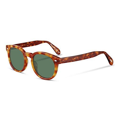 EyeGlow Occhiali da sole rotondi da uomo, polarizzati, protezione UV400 Arancione ambra