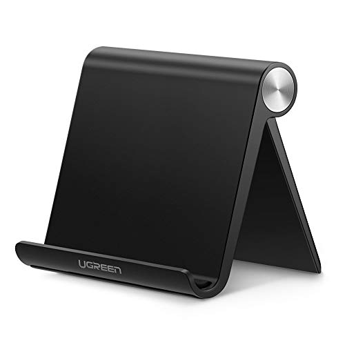 UGREEN Support Tablette Réglable iPad Stand Pliable Compatible avec iPad Pro iPad Air iPad Mini, Galaxy Tab A2019 S7 S6 S5e, Mediapad, iPhone 12 Pro Max Se 2020 11 X 8, Galaxy S21 Ultra S20 (Noir)