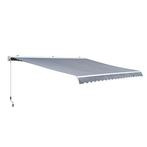 Outsunny Markise Alu Gelenkarmmarkise Sonnenschutz Handkurbel (Breite: 450 cm, Länge: 300 cm)