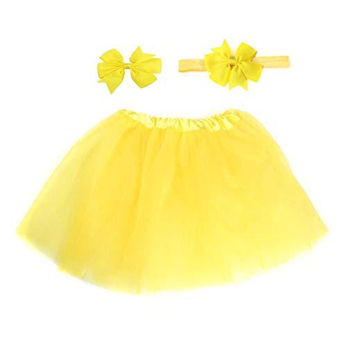 E-House Kerstmis Levert 3 delen/set snoepkleuren zachte baby meisjes tule tutu rok hoofdband haarspeld foto prop - beige geel