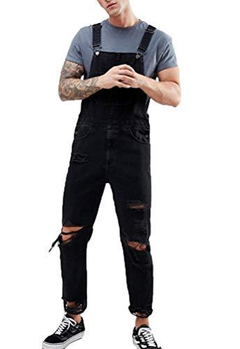 Hombre Vaqueros Peto Overall Largo Shorts Vaqueros Denim Monos Agujeros Rasgado Color Sólido Jumpsuit Pantalones Cortos Babero (Negro,M)