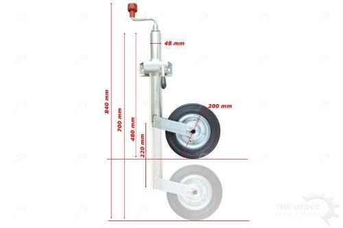 DT Parts The Drive - Stützradsatz - AL-KO Stützrad mit Stahlblechfelge und Vollgummireifen inkl. Klemmhalter