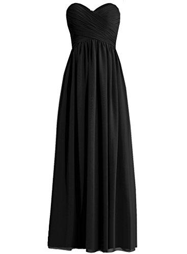 h.s.d Womens Una línea Sweetheart larga chifón vestido dama Noche Fiesta,  Negro, 8