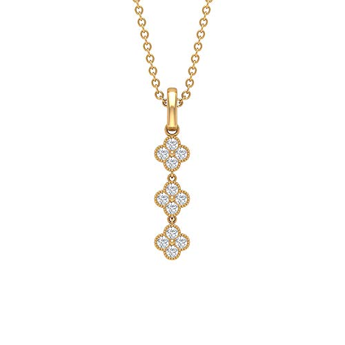 Pendientes de gota larga, con certificado de 0,18 ct, talla brillante, de diamante, grabado en oro, para aniversario de flores, colgantes de maternidad.