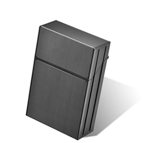 JJZXD Personalidad Creativa Estuche de plástico para Fumar Cigarrillos Moda Hombres cigarro Titular de Tabaco Caja de Bolsillo contenedor de Almacenamiento (Color : Black)