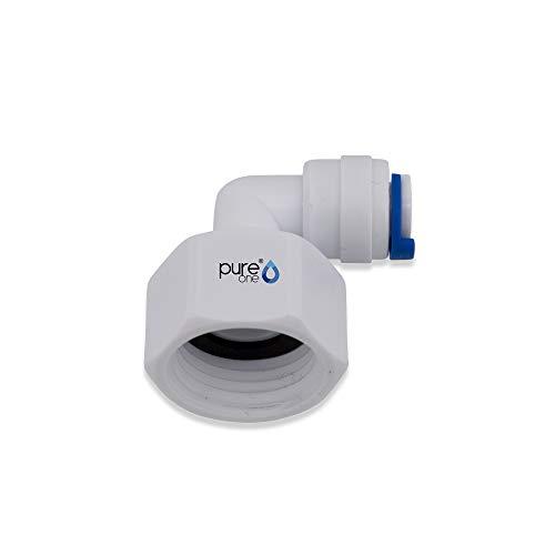 PureOne EF018-E Quick-Fitting - 1/2 IG auf 1/4 Zoll Schlauch. Ausführung: L-Stück | L-Form. Schlauch-Zubehör für Umkehr-Osmose