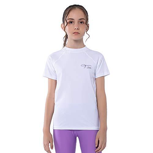 TIZAX Camiseta Natación con UPF50+ Protección Solar para niñas Traje de baño de Manga Corta Rashguard para Surf/Nadando/Buceo/Playa