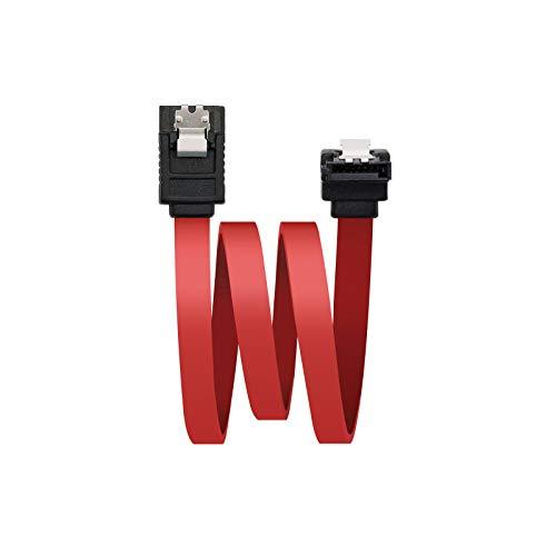 NANOCABLE 10.18.0301 - Cable SATA Datos acodado con Anclajes para Disco Duro o Dispositivos con conexión SATA, Rojo, 0.5mts
