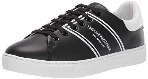 Emporio Armani Damen LACE UP Sneaker Turnschuh, schwarz/weiß, 35.5 EU