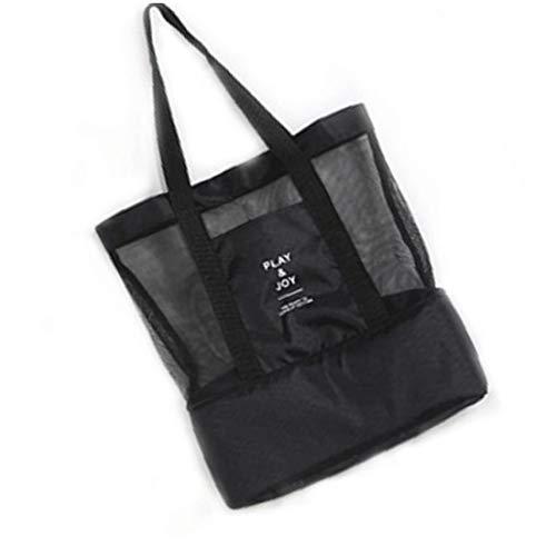 Nylon tragbaren Double-Layer-Picknick Umhängetasche Wasserdichtes Multifunktionskühltasche Mesh-Aufbewahrungsbehälter für Handtasche Schwarz