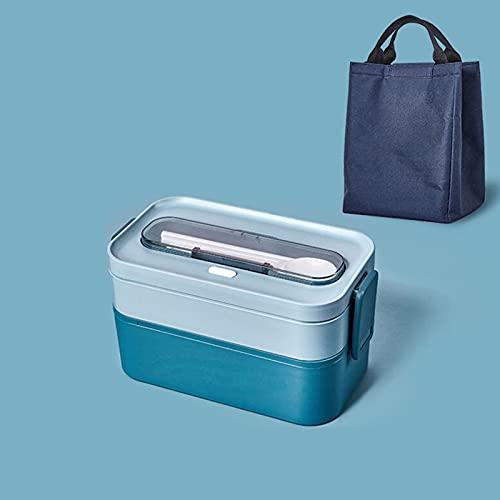 Bento Box Aislamiento doble de aislamiento Caja de almuerzo portátil con tapa de microondas Sellado de plástico separado Bolsa de almuerzo Juego de bolsas + bolsa de blue-Group 4