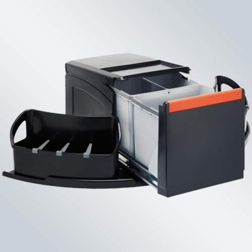 FRANKE Sorter Cube Abfallsorter Abfalleimer Mülleimer Abfallsammler, schwarz, 34,5 x 70 x 35,5 cm