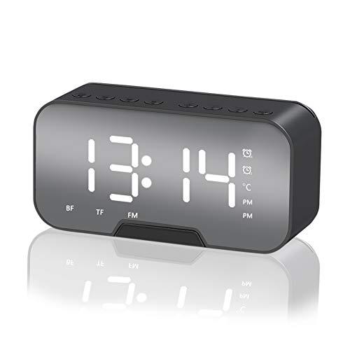 Sveglia con Altoparlante Bluetooth, Everpertuk Orologio Ricaricabile USB, Senza Fili Sveglia Digitale da Comodino con Cassa Display LED, Supporto per Telefono, Radio FM Hi-Fi, TF AUX, Specchio
