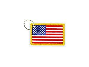 akachafactory Keychain keyring embroidered embroidery patch double sided flag usa american