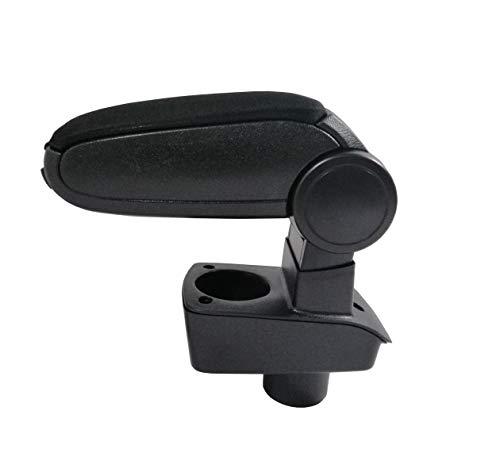 JJ Consola Reposabrazos Reposabrazos de plástico ABS duradero y textil flexible negro + Conjunto de montaje para coche