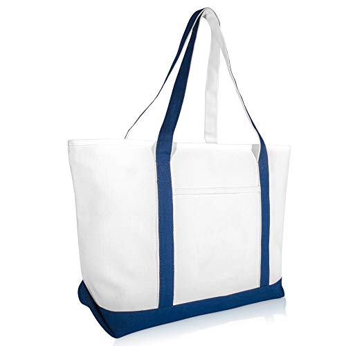 DALIX 23 Premium 24 oz. Cotton Canvas Shopping Tote Bag in Navy Blue