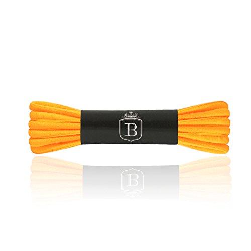 Brandery, 1paio di lacci premium antistrappo, ovali, circa 6mm di larghezza; per sneaker, scarpe da ginnastica, scarpe da corsa, dunkelgelb (dark yellow), 75cm x 6mm