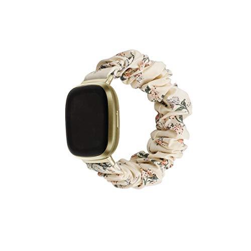 Shenxay Elastisches Stoff-Band für Fitbit-Versa 3 Frauen Mädchen gewebtes Armband Scrunchies Armbanduhr