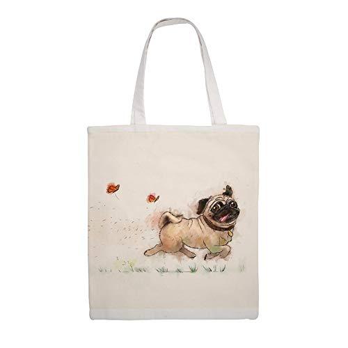 "Cotton Canvas Tote Bag, The Furminator Pug Shoulder Grocery Shopping Bags Cloth Shopping Bag, 14\""L x 18\""H"