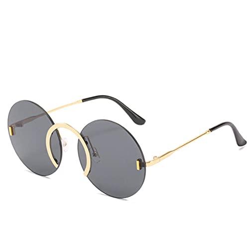 Gafas De Sol Hombre Mujeres Ciclismo Gafas De Sol Redondas Sin Montura Hombres Mujeres Gafas De Sol De Moda De Metal Vintage Gafas Negras Retro-Negro