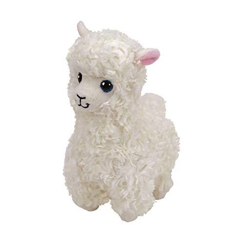 TY- Lily, Lama 15cm Beanie Babies, Color blanco, crema. (