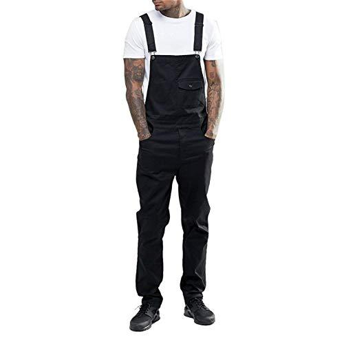 Jeans Pantalon Herren Jeans Overalls Latzhose Herren Freizeit Lätzchen Einfarbige Jumpsuit Jeans Strapshose Plus Size XL Schwarz
