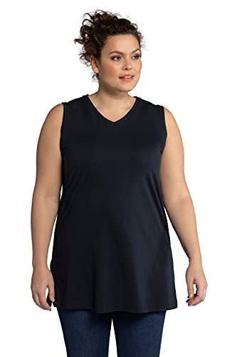 Ulla Popken Damen große Größen Übergrößen Plus Size Top, Oberteil Basic, Tank-Top, V-Ausschnitt, lockerer Schnitt Marine 50+ 531122 71-50+
