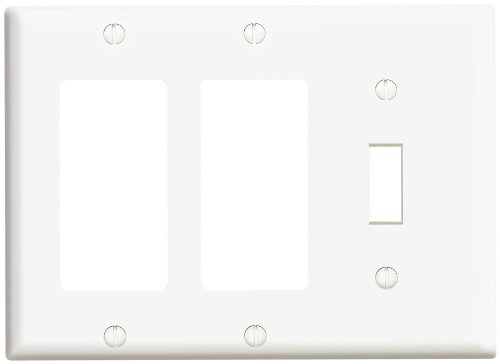 Leviton 80431-W 1-Toggle 2-Decora/Gfci Standard Size Wall Plate, 3 Gang, 4.5 In L X 6.38 In W 0.22 In T, White