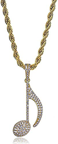 LKLFC Necklace Pendant Chain Necklace Women Men Necklace Iced Out Gold Big Music Symbol Hip hop Pendant Micro Pave Zircon Men Women Necklace Gift-Gold Gift