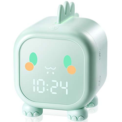 Homealexa Despertador Infantil, Reloj Despertador para Niños con 4 LED de Brillo/7 Colores/Dual Alarma/6 Musica, Despertador Niña con Control táctil