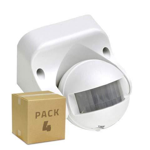 LEDKIA LIGHTING 4er Pack Anwesenheitsmelder PIR 180º für die Wand (4St.) Weiß