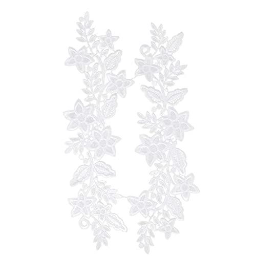 Yililay Hermosa Flor del Bordado de Parches Escote de Encaje Hueco del Ajuste del Applique de Costura Collares DIY Crafts Blanca 2 Piezas