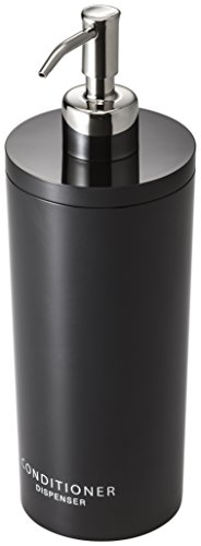 Yamazaki Tower Conditioner Dispenser Contemporary Bottle Pump for Shower, Round, Black & Silver