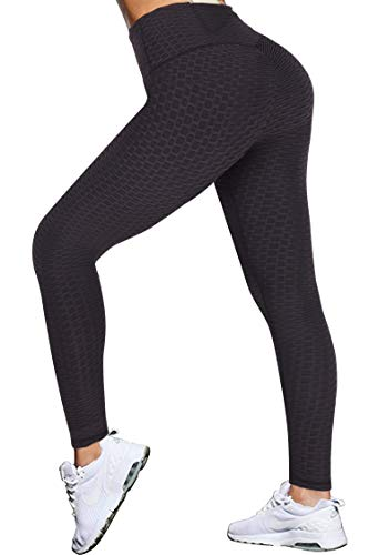 GRAT.UNIC Damen Slim Fit Hohe Taille Sportshort Lange Leggings mit Bauchkontrolle (Schwarz, XL)