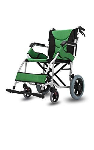 PLBB3K Silla de Ruedas Manual Plegable Ligero Pequeño Pequeño Aleación de aleación de aleación de aleación para sillas de Ruedas Discapacitados para Scooter-Rueda Grande (Color : Green)