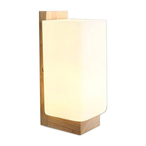 Applique murale QIQIDEDIAN Lampe de Chevet Simple Moderne Chambre Murale Lampe en Bois Massif Creative Mur Lampe Allée Corridor Mur en Bois Lampe