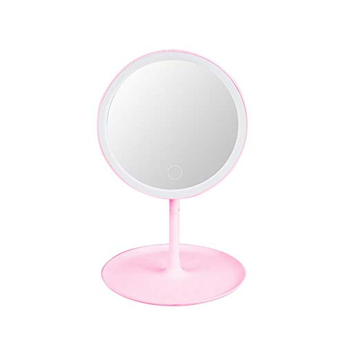Led-spiegel Make-upspiegel Staande spiegels Make-up tafelspiegels Vanity Miroir Led-touchscreen Cosmetische spiegel met verlichting nieuw, roze USB