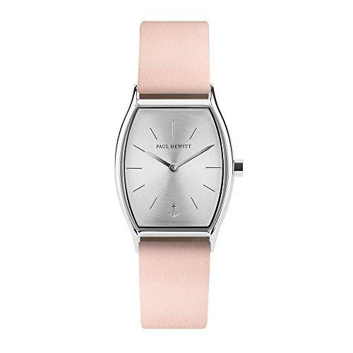 PAUL HEWITT Armbanduhr Damen Modern Edge Line Silver Sunray - Damen Uhr (Gold), Damenuhr mit Lederarmband (Nude), silbernes Ziffernblatt