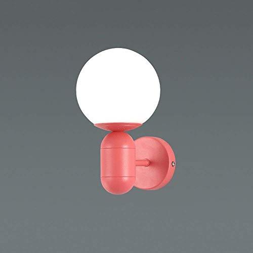 Nordic Minimalist Macaron Aplique Personalidad Creatividad Esférico Pantalla de Vidrio E27 Corredor de Metal Escalera Luz Dormitorio Cabecera Aplique Linterna, C-L, Rosado