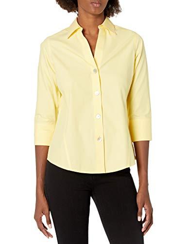 Foxcroft Women's Paityn Non-Iron Pinpoint 3/4 Sleeve Shirt, Sunbeam, 10