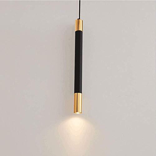 Naiyn Luz Colgante LED Moderna Simplicidad Luz Colgante de Tubo Largo Negro para Cocina Isla Comedor Tienda Decoración Cilindro Lámparas de Tubo Accesorio de iluminación de Aluminio