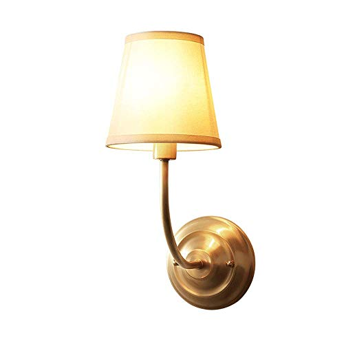 Accesorio de lámpara de pared de cobre, aplique de luces de pared americano de mediados de siglo con pantalla de tela, iluminación de pared interior para el hogar para el pasillo del hotel, 39cmH
