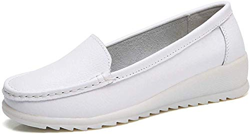 ZYEN Women's All White Nursing Shoes Comfortable Slip On Nurse Work Wedge Leather Loafers White 7.5 B(M) US 6616baise38