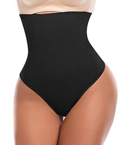 SLIMBELLE Tanga Faja Braga Reductora para Mujer Vientre Plano Braguitas Modeladora Cintura Alta-Negro-3XL