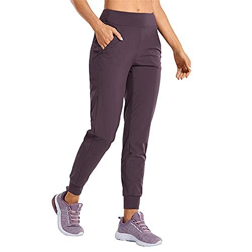 N\P Pantalones deportivos de doble capa para mujer con bolsillos con cremallera y elástico cálido